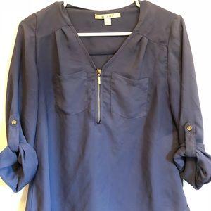 Navy 3/4 length chiffon blouse